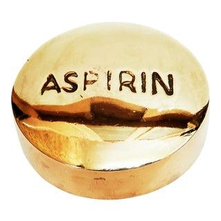 1970s Vintage Brass Aspirin Paperweight For Sale