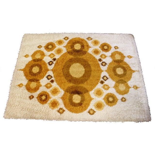 Mid-Century Modern Rya Rectangular Area Rug Carpet Orange Circles 1960s Denmark For Sale In Detroit - Image 6 of 6