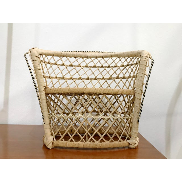 Hollywood Regency Vintage Rattan Loveseat Plant or Teddy Stand For Sale - Image 3 of 7