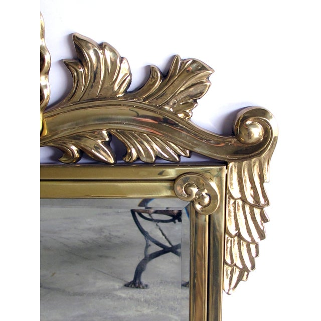 A Good Quality Italian Hollywood Regency Solid Brass Mirror With Over Scaled Shell Crest By Decorative Crafts Inc Est 1928