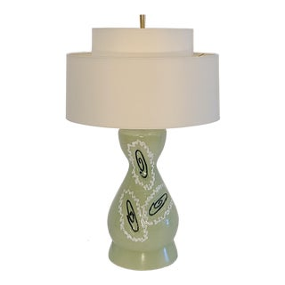 Atomic Seafoam Green Lamp With Two Tier Shade For Sale