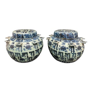 Mid 20th Century Chinese Porcelain Blue and White Covered Jars - a Pair For Sale
