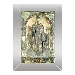 Antique Polychromed and Mirrored Relic of St. Barbara For Sale