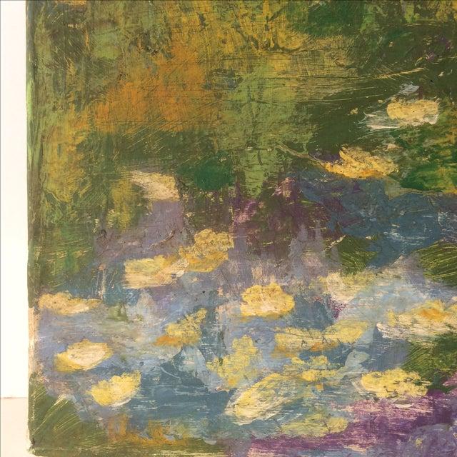 Impressionist Lily Pad Painting - Image 3 of 8