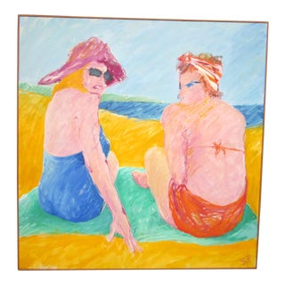 "1970s Vintage Suzanne Peters ""Two Women on Green Blanket"" Beachside Portrait Painting For Sale"