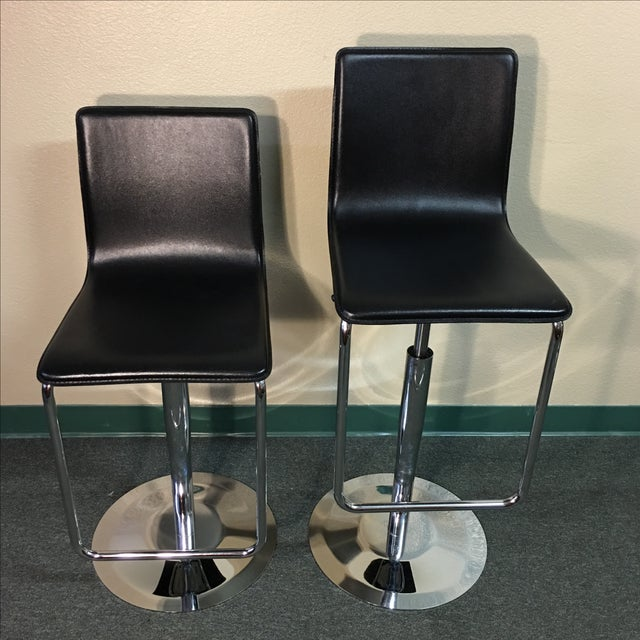 Leather & Polished Steel Adjustable Bar Stools - a Pair - Image 4 of 10