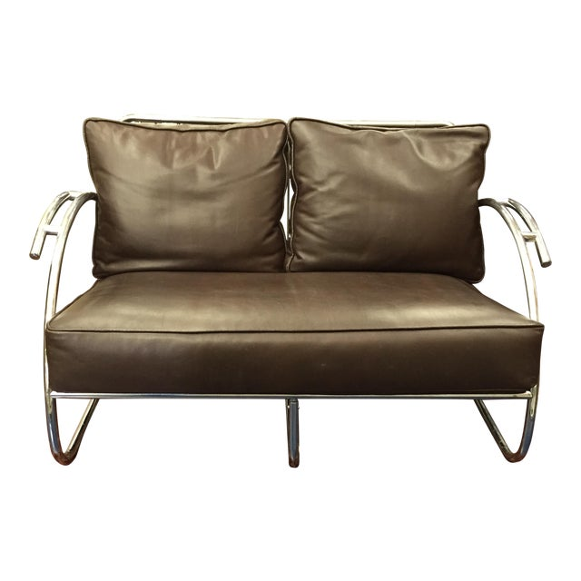 Chrome and Brown Leather Loveseat - Image 1 of 6