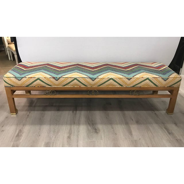 1980s James Mont Style Upholstered Long Bench For Sale In New York - Image 6 of 6