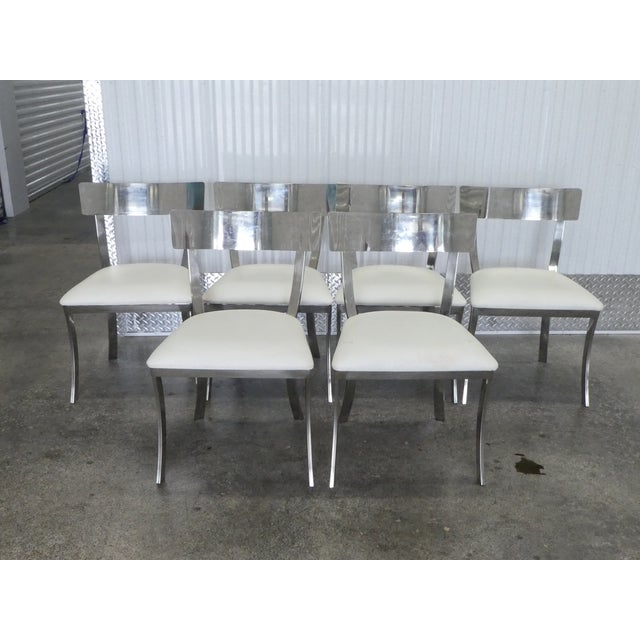 Post Modern Chrome / Aluminum Klismos Dining Chairs - Set of 6 For Sale - Image 13 of 13