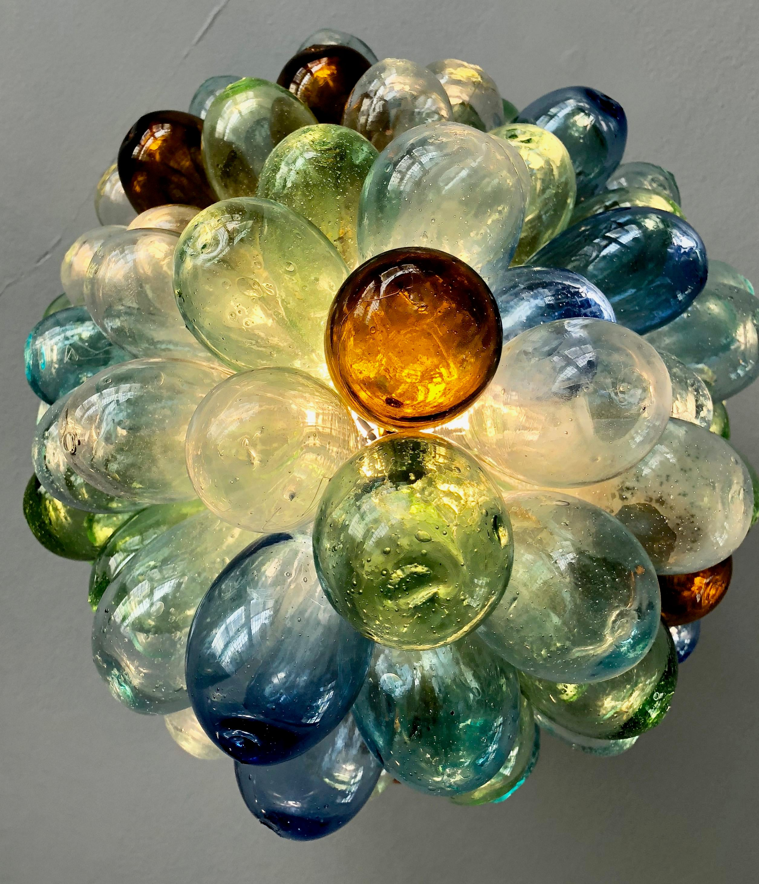 Pendant Multicolored Handblown Glass Light Fixture For Sale In Los Angeles Image Of Chairish Multicolored Handblown Glass Light Fixture Chairish