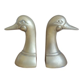 A Pair- Vintage Brass Duck Head Bookends