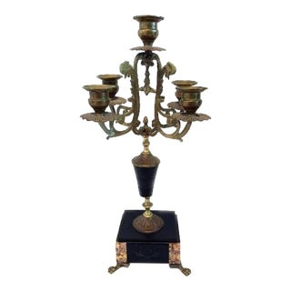 French Antique Bronze Black Inlaid Marble & Birds Candelabra Empire For Sale