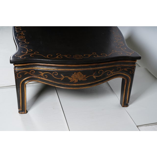 Rose Tarlow Black & Gold Chinoiserie Decorated Coffee Table