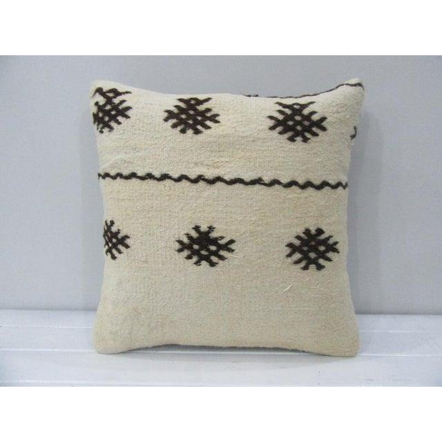 Vintage Black / White Kilim Pillow For Sale - Image 4 of 4