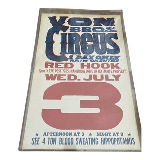 Von Circus Vintage Red Hook Collectible Poster For Sale