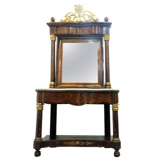 Spanish Empire Console Table With Mirror in Mahogany, Circa 1810 For Sale