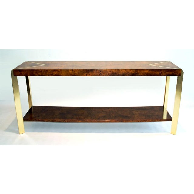 Burl Wood & Brass Console - Image 2 of 4