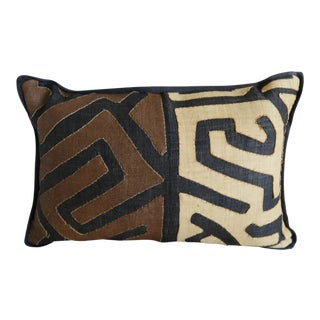 Brown, Black & Cream Kuba Cloth Pillow For Sale