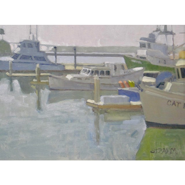 Contemporary Paul Strahm Original New California Boat Harbor Seascape Signed Oil Painting For Sale - Image 3 of 5