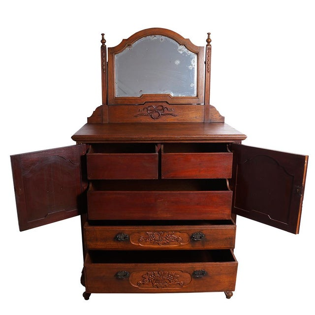 Asian 20th Century Chinese Raise Carved Dresser With Mirror For Sale - Image 3 of 9