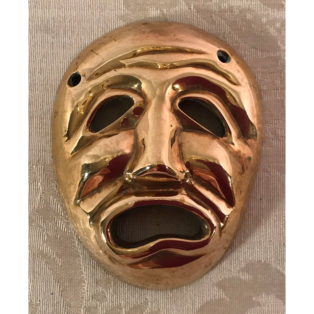 Mid-Century Modern Brass Tragedy Mask - Image 4 of 9