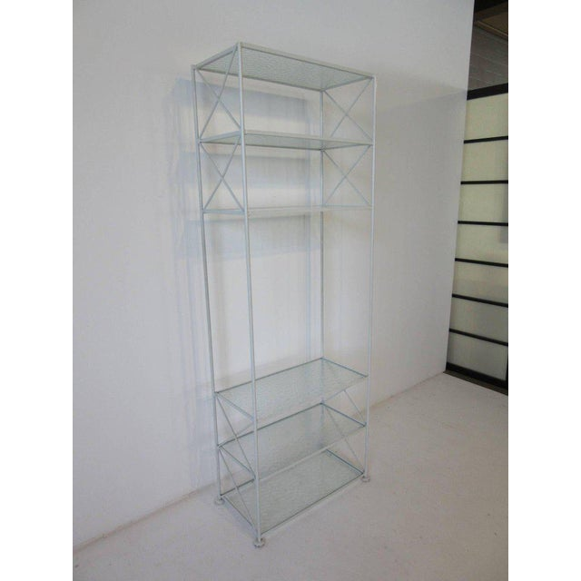 Glass Russell Woodard Iron and Glass Etagere or Bookcase For Sale - Image 7 of 7