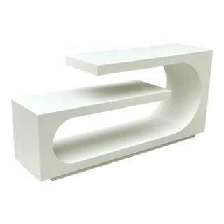 Mid Century Modern White Console For Sale