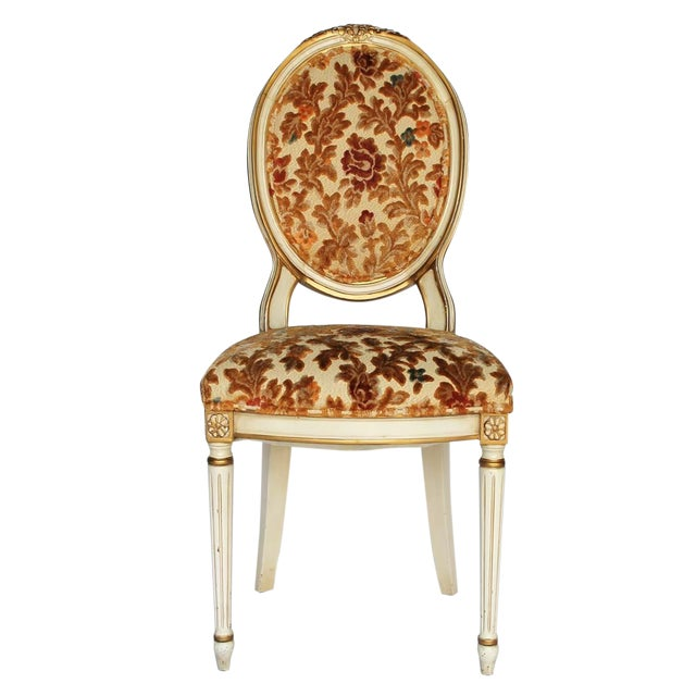 Floral Upholstered Side Chair For Sale