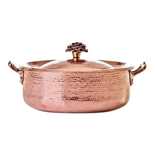 Amoretti Brothers Handmade 7.8 qt Copper Rondeau with Flower Lid For Sale