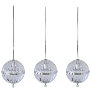 Vintage Contemporary Modern Hanging Chrome Blown Glass Globe Lights - Set of 3 For Sale