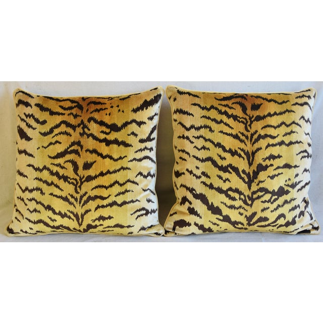 Pair of large custom-tailored Italian Scalamandré pillows in a vintage/never used luxurious 100% handloomed shimmering...