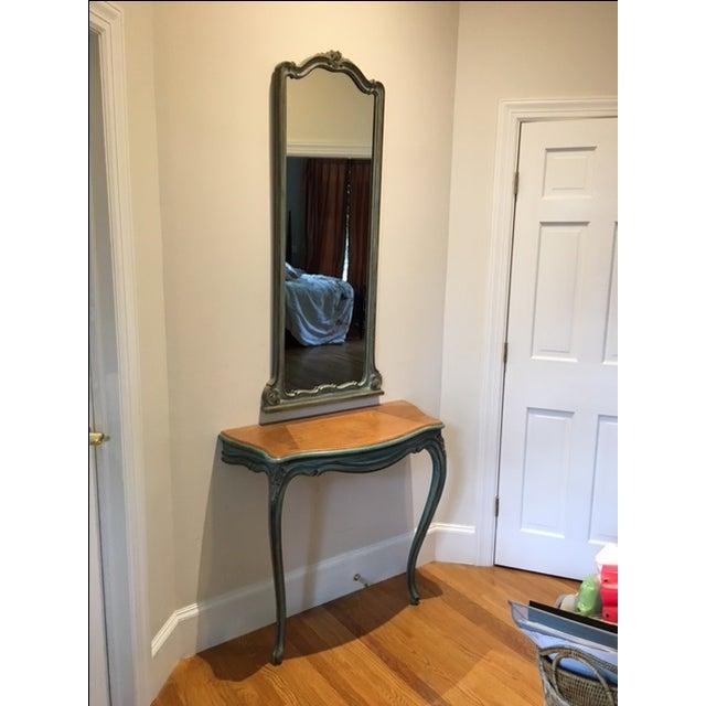 Antique Aqua-Painted Mirror & Console - Image 2 of 5