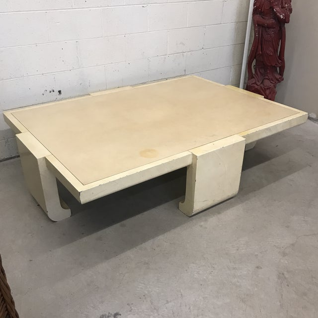 Amazing Baker Furniture coffee table. This piece is big and solid. Clearly the lacquer finish has yellowed over time. Lots...