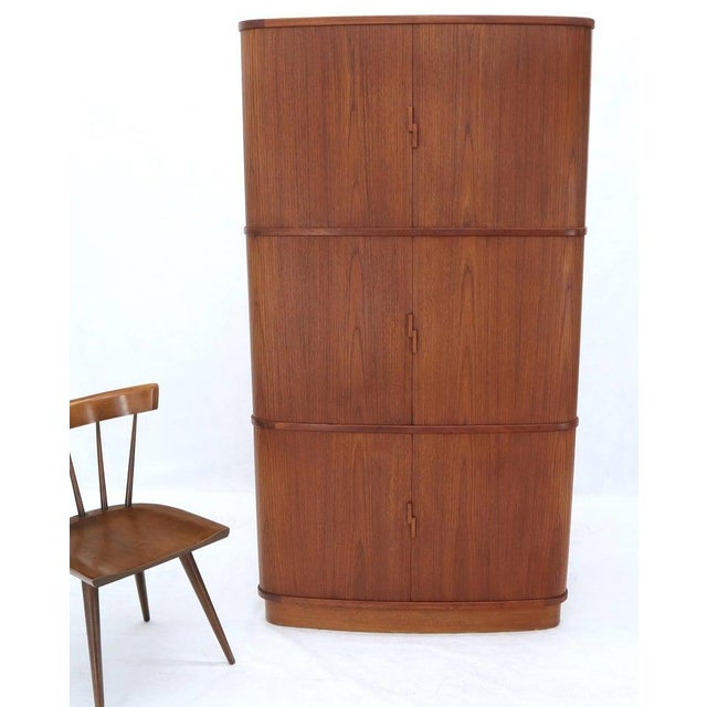 Mid 20th Century Rare Large Tambour Door Danish Modern Teak Corner Cabinet For Sale - Image 5 of 13