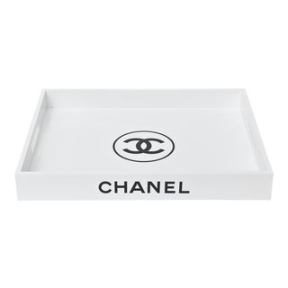 White Lacquered Wood Chanel Tray Barware For Sale