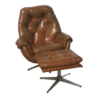 1960s Danish Tan Leather Lounge Chair and Ottoman - 2 Pieces For Sale