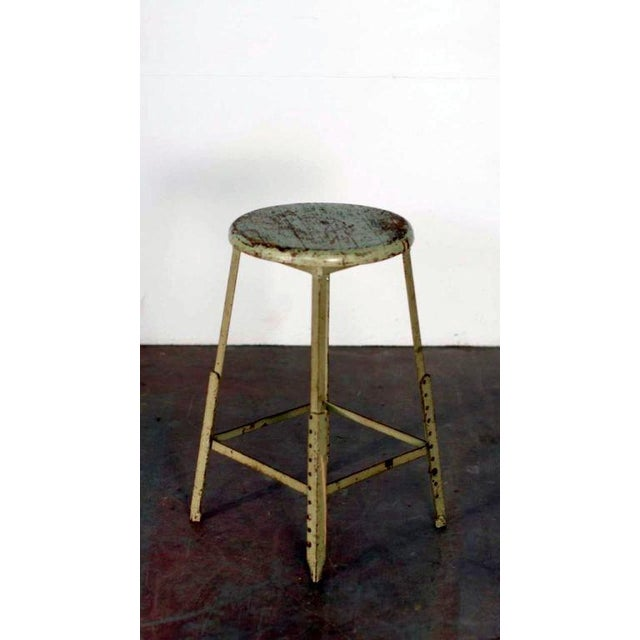 Industrial Pair of Industrial Adjustable Bar Stools For Sale - Image 3 of 6