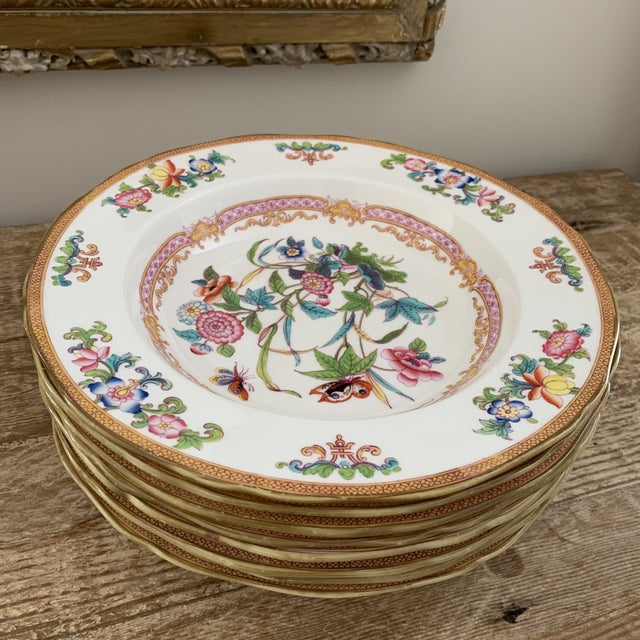 Antique English Minton Chinoiserie Shallow Dinner Bowls- Set of 8. From the early 1800s - beautiful heirloom set and...