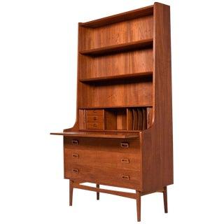 Borge Mogensen Style Danish Teak Bookcase with Secretary Desk