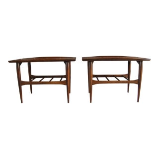 Bassett Mid-Century Modern Danish Modern Surfboard End Tables - a Pair For Sale
