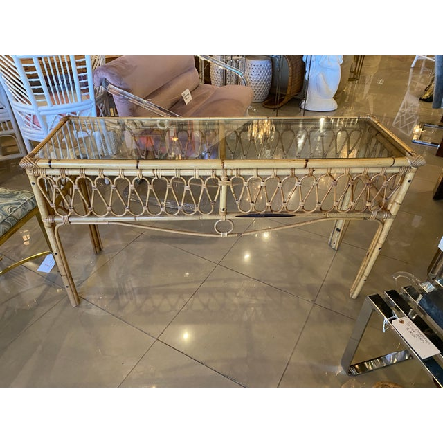 1970s Vintage Tropical Palm Beach Rattan Glass Top Console Sofa Table For Sale - Image 5 of 12