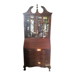 Solid Wood Secretary Desk With Glass-Front Hutch For Sale