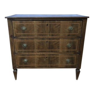 French Mahogany Inlay Three Drawer Chest For Sale
