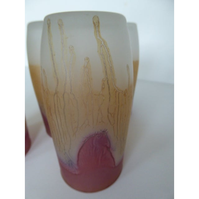 1980's Reuven Nouveau Hand Painted Art Glass Pitcher and Glasses - 6 Pc. For Sale - Image 9 of 11