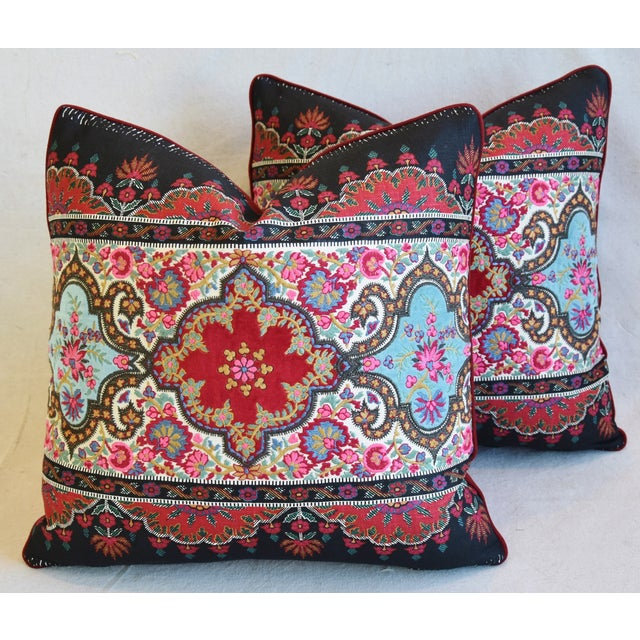 """Pierre Frey French Embroidered Feather/Down Pillows 18"""" Square - Pair For Sale - Image 12 of 13"""
