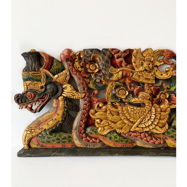 Vintage Thai Wood Carving Wall Art For Sale - Image 4 of 7