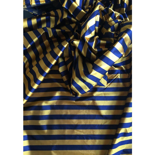 """6 yards of classic 1"""" horizontal stripe in super preppy navy and gold ribbed silk. This is a multipurpose tie silk weight."""