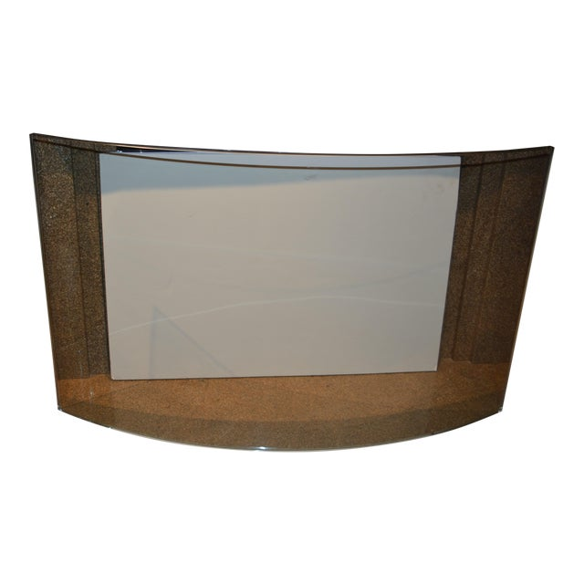 Custom Curved/Bowed Glass Fireplace Screen For Sale