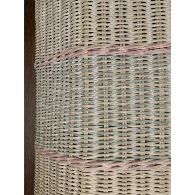 1960s White-Washed Natural, Pink and Mint Striped Octagonal Wicker Clothes Hamper With Braided Trim For Sale - Image 4 of 13