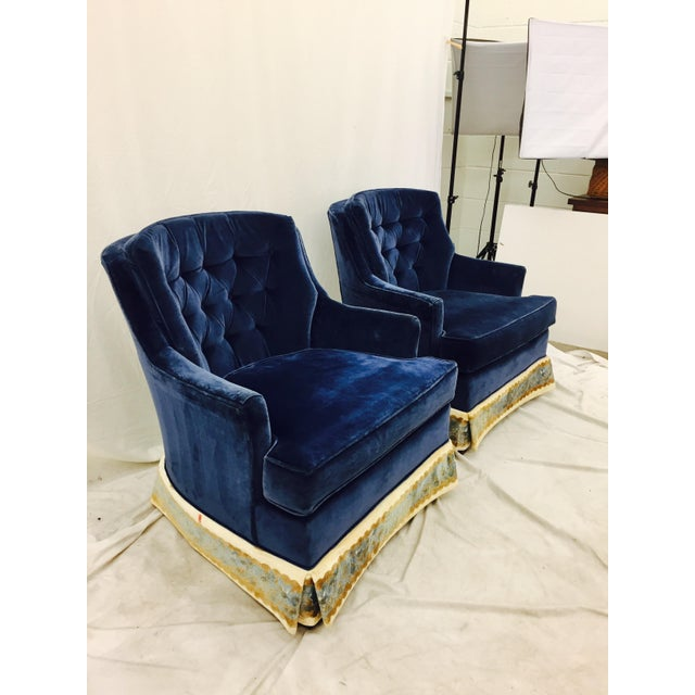 Navy Blue Velvet Club Chairs - a Pair - Image 6 of 8